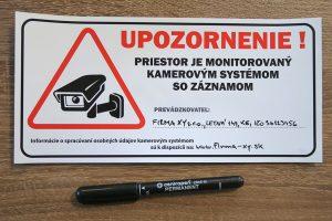 Univerzálna nálepka - Priestor monitorovaný kamerovým systémom