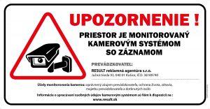 Nálepka Priestor monitorovaný kamerovým systémom + účely monitorovania