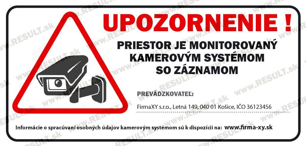 Vyhovujúce označenie pre Priestor monitorovaný kamerami