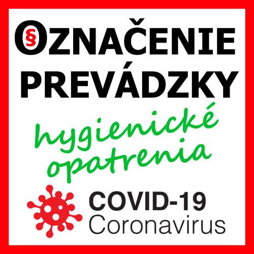 označenie prevádzky koronavírus