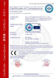 Certifikát EN 149:2001 + A1:2009