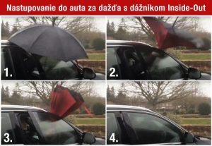 Dáždnik Inside-Out pri nastupovaní do aut