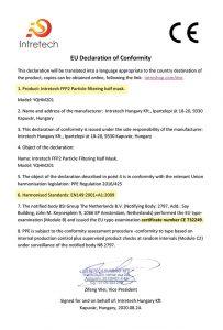 Certifikát FFP2 - EN149:2001+A1:2009