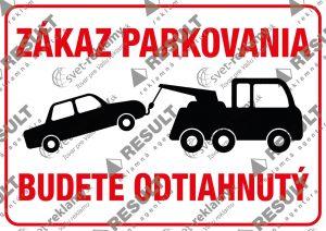 Nálepka Zákaz parkovať s odťahom
